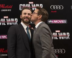 Robert Downey Jr kisses and showers love on Chris Evans at Captain ...