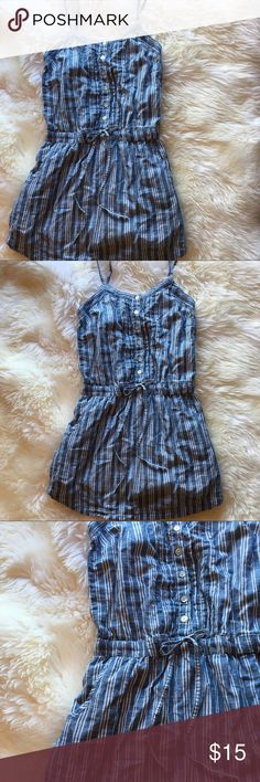 Aeropostale Stripped Chambray Denim Dress Aeropostale button down chambray denim mini dress. Vertical white stripes, beautiful shell buttons, pockets, and an elastic waistband with drawstring. A petite dress, very small, xs! Excellent condition, can be ironed and brand new. Bought nwt from another poster for $21 Aeropostale Dresses Mini