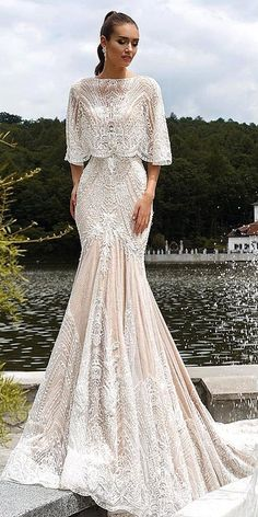 18 Trumpet Wedding Dresses That Are Fancy & Romantic ❤️ trumpet wedding dresses vintage lace floral appliques capes ricca sposa ❤️ Full gallery: https://weddingdressesguide.com/trumpet-wedding-dresses/ #weddingdress