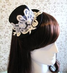 Grand Wedding Cocktail Party Pearl Lace Black Mini Top Hat Clip