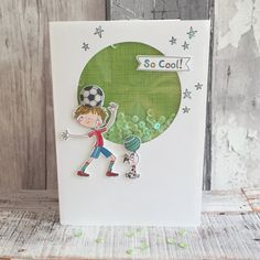 Whiz Kids Football Shaker Card So Cool by design team member Angie Crafts To Do, Crafts For Kids, Craftwork Cards, Fathers Day Cards, Shaker Cards, Card Tutorials, Kids Cards, Decoupage, Kids Football