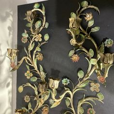 Each candle sconce has four candle holders. Hand painted in beautiful muted colors; Candle Wall Sconces, Muted Colors, Candle Holders, Hand Painted, Candles, Antiques, Painting, Vintage, Ebay