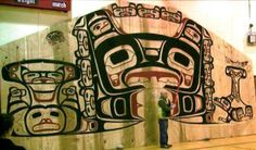 Tlingit interior House Screen, part of the clan house being constructed at the traditional home of the Huna Tlingit Glacier Bay National Park, National Parks, Native Art, Native American Art, Native Drawings, Glacier Bay Alaska, Tlingit, Art Themes, People Art