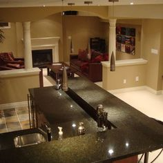 Living Room Half Wall Design, Pictures, Remodel, Decor and Ideas - page 3 Basement Remodeling, Basement Ideas, Playroom Ideas, Column Design, Half Walls, Living Room Kitchen, Dining Room, Living Room Remodel, Built Ins