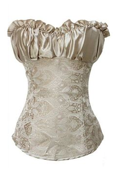 Gold Oriental Floral Print Overbust Corset With Ruched Satin Bust Area and Lace-up Back-$8.00-Plus Size Corsets | IWantLingerie.com