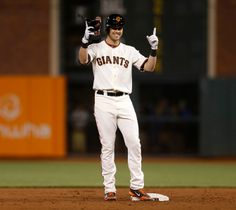 San Francisco Giants' Tyler Colvin (10) celebrates after hitting a double against the Miami Marlins in the fifth inning at ATT Park in San Francisco, Calif. on Thursday, May 15, 2014. (Nhat V. Meyer/Bay Area News Group)