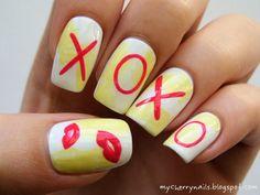 xoxo, nails, nail art, kiss, lips, nails, nail art, manicure