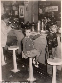 Smiling kids at the soda fountain c.1940s Montgomery County Historical Society, PA