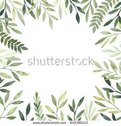 Hand drawn watercolor illustration. Botanical Square frame with green leaves, branches and herbs. Floral Design elements. Perfect for wedding invitations, greeting cards, prints, posters, packing etc