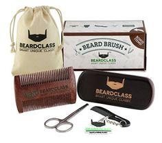 BEARDCLASS - Beard Brush - Wooden Boar Bristle Beard Brush Kit Set with Curve Contour for Maximum Grip - Bonus Items Included: Beard Comb, Mustache Comb and Scissors Set- Beard Care Grooming Kit - Hipster Beard Products Hipster Beard, Beard Brush, Perfect Beard, Short Beard, Boar Bristle, Brush Kit, Grooming Kit, Beard No Mustache, Beard Care