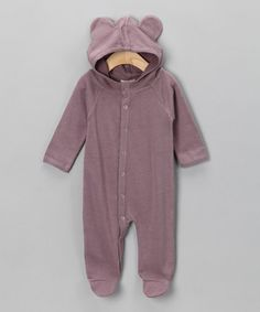 Little ears on baby clothes are the BEST!!! :)  Quail Sweater Organic Hooded Footie - Infant   by Plum Bunny by Kate Quinn on #zulily today!