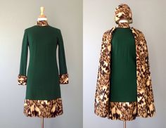 Does Palm Springs have a winter? Vintage 60s Mr. Blackwell Animal Print Dress, Cape, and Hat // Medium