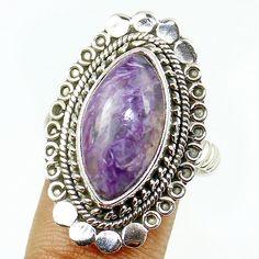 Siberia-Charoite Sterling Silver Ring Jewelry Size- 8.5 SR-175 #Allisonsilverco
