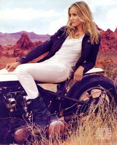 Cameron Diaz on a motorcycle
