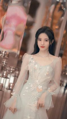 Beautiful Chinese Girl, Cute Japanese Girl, Beautiful Anime Girl, Beautiful Asian Women, Girl Fashion, Fashion Dresses, Ulzzang Korean Girl, Cute Wedding Dress, Uzzlang Girl