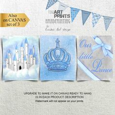 Prince Castle, Prince Crown and blue ribbon, as a SET OF 3 fine Art prints for a prince themed baby boy nursery decor on blue & gray col. Baby Boy Nursery Decor, Themed Nursery, Baby Boy Nurseries, Nursery Themes, Nursery Prints, Nursery Wall Art, Prince Nursery, Fine Art Prints, Canvas Prints