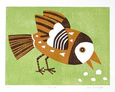 Crumbs, linocut bird print, edition of 15, original print, signed and numbered