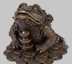 """7"""" China Folk BRASS Yuanbao Coins Wealth Golden Toad Frog Statue BRASS wholesale factory BRASS Arts outlets"""