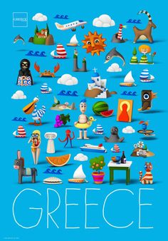 """""""Greece: the richest place in the world"""" by Beetroot…as long as we can get rid of some """"setbacks""""! The wonderful beaches, unique products, exquisite services and the hospitality, Greece is known for,. Greece Tourism, Greece Travel, Old Posters, Tourism Poster, Go Greek, Greek Culture, Travel Illustration, Poster Pictures, Vintage Travel Posters"""