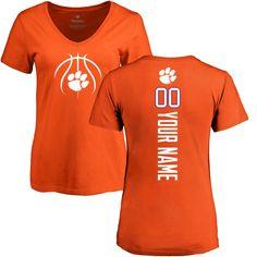 Clemson Tigers NCAA Hands High Women/'s Orange V-Neck Short Sleeve T-Shirt