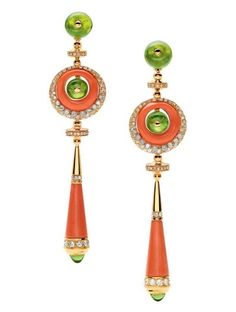 in silver with Peruvian opal turquoise! Coral Jewelry, I Love Jewelry, High Jewelry, Jewelry Design, Bulgari Jewelry, Bvlgari Earrings, Jewellery, Peridot Earrings, Coral Earrings
