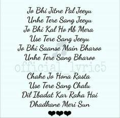 Dil ibaadat kr rha h dhadkane meri sun.this is my favorite song ever by KK. Simple Love Quotes, First Love Quotes, Classy Quotes, Romantic Love Quotes, Love Song Quotes, True Feelings Quotes, Feelings Words, Song Lyric Quotes, Romantic Song Lyrics