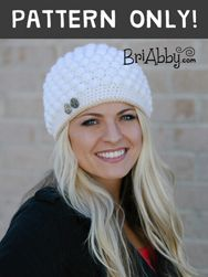 Crochet bobble stitch hat pattern. Gorgeous hat for women and adorable on little girls! www.briabby.com