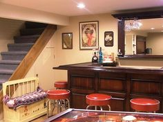 Interior:High Functional Small Basement Ideas With Smart Basement Remodeling With Red Bar Stools High Functional Small Basement Ideas with Smart Basement Remodeling
