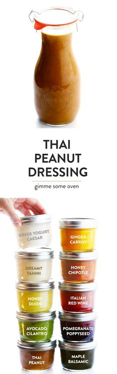The BEST Thai Peanut Dressing!! It's the perfect blend of sweet and savory, with accents of ginger, lime juice, garlic, sriracha, and of course, lots of peanut butter. Perfect for a salad, stir-fry, noodles, or even used as a dipping sauce. | gimmesomeoven.com (Vegetarian / Gluten-Free)