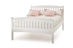Serene Eleanor Double White Wooden Bed Frame with High Footend by Serene Furnishings
