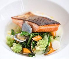 Roasted sea trout, autumn vegetables, samphire, palourde clams & aromatic broth. ✅ By - @breadskitchen ✅  #ChefsOfInstagram