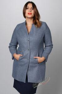 Płaszcz  flauszowy zimowy elegancki stójka niebieski