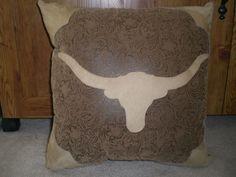 Western Leather Longhorn Pillow Custom Pillows