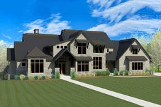 <div><ul><li>With over 8,000 square feet and five bedrooms, this exciting Craftsman house plan was designed for a large family with amenities for all.</li><li>Double doors open to a foyer that widens further back with tremendous views of the huge vaulted great room and the open deck beyond.</li><li>A built-in banquette with windows on three sides brightens the informal breakfast nook area.</li><li>Choose from a covered deck or open deck on either side.</li><li>The deluxe master suite gets…