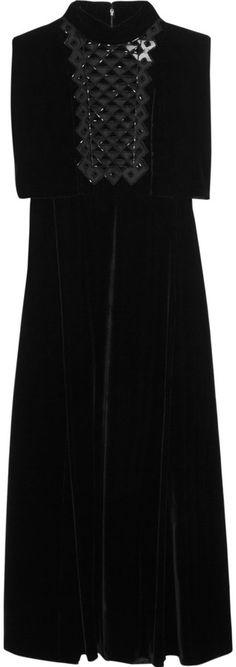 Valentino Beaded Tulle and Velvet Dress