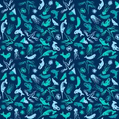 Arctic Ditsy Sea Creatures - Deep Sea fabric by aldea on Spoonflower ...