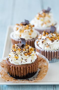 NUTELLA CHEESECAKE CUPCAKE RECIPE - The perfect layering of a delicious Oreo crust, rich and perfectly creamy Nutella cheesecake filling, and lightly crunchy, toasted hazelnut topping that clings to the edges of fluffy, sweet whipped cream, all garnished with real chocolate sprinkles. Sigghhhh. #Recipe #Cheesecake #Cupcake #Nutella #Oreo #Hazelnut #Chocolate #Dessert