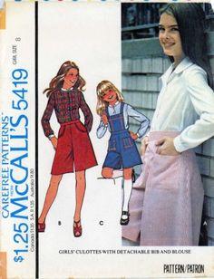 #Brooke #Shields 70s-Sewing-PATTERN-McCalls-5419-Girls-Blouse-Culottes-with-detachable-bib-sz-8