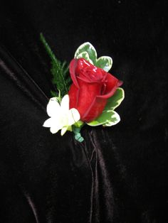 Red Rose and White Dendrobiium Orchid Boutonniere