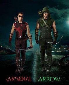 Arsenal & ArrowYou can find Green arrow and more on our website. Arsenal Arrow, Team Arrow, Arrow Show, Stephen Amell Arrow, Arrow Oliver, Heroes Dc Comics, Arrow Comic, Arrow Dc Comics, Green Arrow Costume