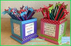 DIY Pencil Organizer.  Keep those pencils organized and in your classroom!  No more pencil thievery when you flag them!