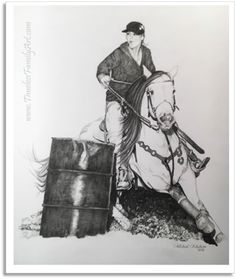 Barrel Racer Pencil Drawing By Mike Kitchens Timeless Family Art