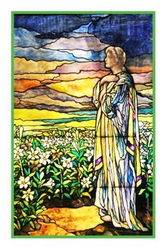 Field of Lilies inspired by the work of Art Nouveau and Stained Glass Artist Louis Comfort Tiffany Counted Cross Stitch or Counted Needlepoint Pattern