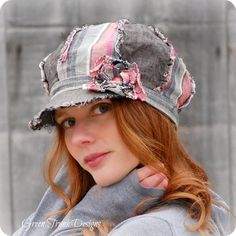 Pink and Gray Shabby Linen Newsboy Hat Ropa Shabby Chic, French Hat, News Boy Hat, Head Accessories, Slouchy Hat, Cool Hats, Bandanas, Fabric Dolls, Beanie Hats