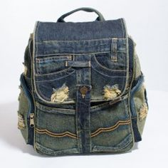 Jean Backpack, Backpack Bags, Denim Bag Patterns, Mochila Jeans, Leather Repair, Patchwork Jeans, Denim Ideas, One Bag, Blue Bags