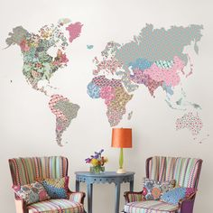 3 cool world map decals to get kids excited about geography boho world map wall decal gumiabroncs