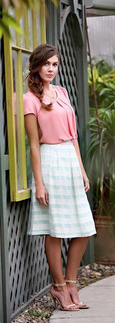 Pistachio Striped Skirt