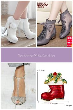 New Women White Round Toe Chunky Faux Fur Patchwork Rhinestone Casual Ankle Boots Ankle Boots Casual Low Heel Sandals, Low Heels, King Outfit, Spring Sandals, Red Hats, Rhinestone Jewelry, Casual Boots, White Women, Wedding Shoes