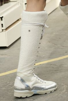 Chanel, Look #63 white sneakers sock boots