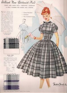 1950's Plaid shirt waist full skirt dress; Fashion Frocks,Inc.STYLE CARD. Fashion Frocks employed housewives to sell to women door-to-door with these type style cards. via images unearthed, etsy